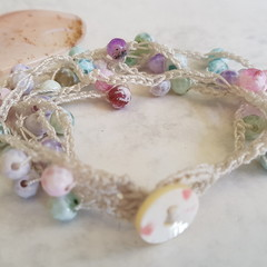 5 Strand Crochet Bracelet with Pastel Fire Agate Gemstones