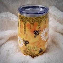 Bee hive wine tumbler