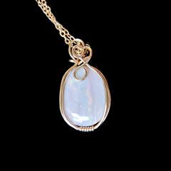 Australian White Opal pendant, 14k gold filled wire wrapped pendant, opal gift