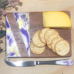 Small purple resin art cheese board.