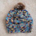 Hand knitted Ladies Beanie with Faux Fur Pom Pom