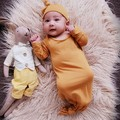 Newborn Baby Sleepwear knot gown in Neutral Earthy Colours
