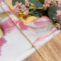 Large cheese board set - pink/white/gold
