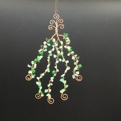 Green agate chips and glass beads wall or window hanger