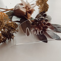 Arch clear acrylic place cards with calligraphy vinyl lettering