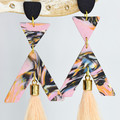 Pink Marbled Triangle and Arrow Tasseled Earrings