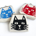 Screen Printed Cat Metal Clasp Coin Purse • Both Sides Printed