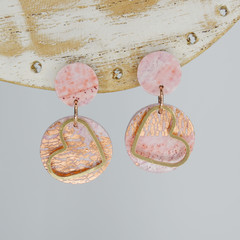 Pink and Rose Gold Circle and Gold Heart