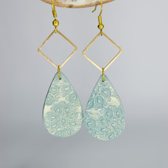 Shimmery Minty Green Teardrop with Gold Embellishments