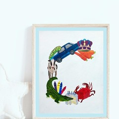 Letter 'C' Nursery Print, Hand-Painted Alphabet Painting, Wall Art, Baby Name