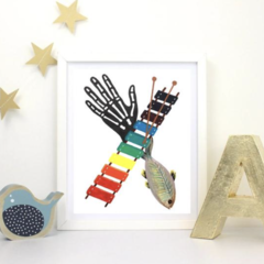 Letter 'X' Nursery Print, Hand-Painted Alphabet Painting, Wall Art, Baby Name