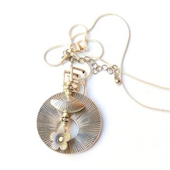 Art Deco pendant , silver with silver charm and silver snake chain
