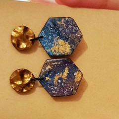 Small Galaxy Hexagonal Earrings