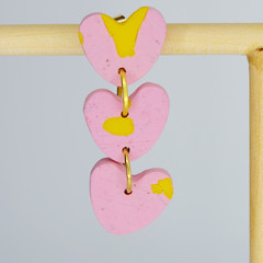 Pink Marbled Heart and Stair Chains