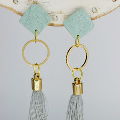 Minty Green Diamonds with Tassels and Gold Embellishments