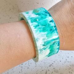 Aqua white bracelet cuff bangle resin