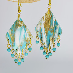 Beach Themed Diamond with Turquoise Bead dangles