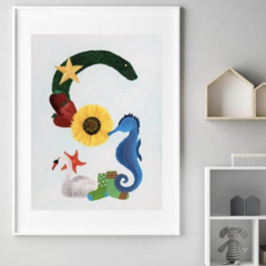 Letter 'S' Nursery Print, Hand-Painted Alphabet Painting, Wall Art, Baby Name