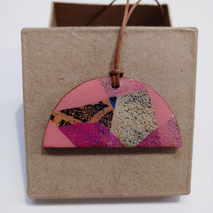 """""""Pink Triangles"""" half moon pendant with leather cord"""