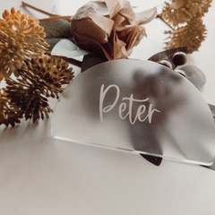 Arch frosted acrylic place cards with calligraphy vinyl lettering