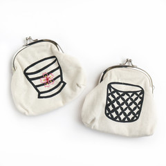 Screen Printed Soba Cup Metal Clasp Coin purse • Both Sides Hand Printed