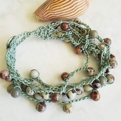 Coffee Bean Jasper Crochet Bracelet