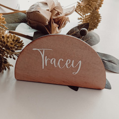 Arch plywood place cards with calligraphy vinyl lettering