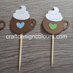 Hot Chocolate/Coffee Cups Cupcake Toppers