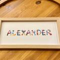 Personalised Name Frame, Nursery Print, Hand-Painted Alphabet, Baby Art
