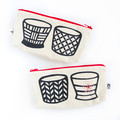 Handmade Soba Cup Pouch with Hand Embroidered Sakura • Zipper Pouch
