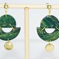 Green Quartz Semi Circles with Gold Embellishment