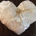 "Wedding ring pillow, Christening pillow, "" Love You Always"" embroidery"