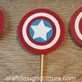 Captain America Cupcake Toppers