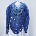 Hand Crocheted Triangular Shawl - Crystal Blue