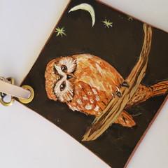 leather owl bag tag/ keyring