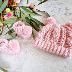 Dusty Pink Handmade Crochet Knitted Newborn Cable Baby Beanie Hat & Booties