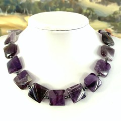 AMETHYST -CHEVRON Wavy Square Cabochon and PYRITE Necklace