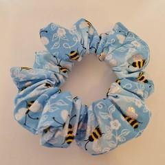 Light blue bee print scrunchie / hair accessory