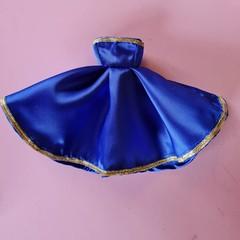 Barbie doll dress - blue with gold trim