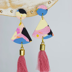 Pink and Black Quarter Circle with Tassel