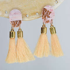 Pink and Rose Gold Oval with Tassels