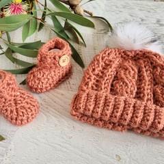 Dark Salmon Handmade Crochet Knitted Newborn Cable Baby Beanie Hat & Booties