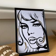 Black and Gold Pop Art Framed Artwork