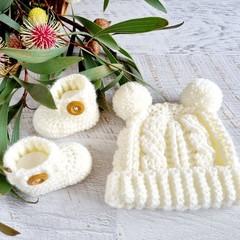 Cream/Off White Handmade Crochet Knitted Newborn Cable Baby Beanie Hat & Booties