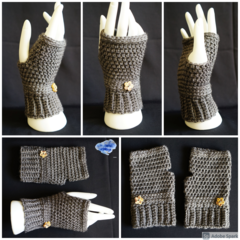 Fingerless gloves, wrist warmer in a beautiful grey with wooden button