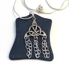 Blue leather and Celtic charm with chains pendant necklace