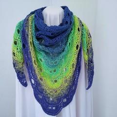Hand Crocheted Triangular Shawl - Opal
