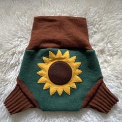 Medium Sunflower wool nappy cover