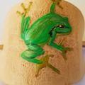 Leather barrette green frog