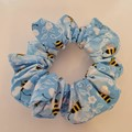 Light blue bee print scrunchie / hair accessory